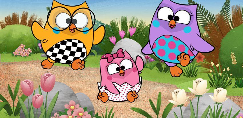 Bubu, Biel e Bonie são três corujinhas que adoram aprender coisas novas na floresta
