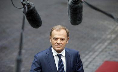 Presidente do Conselho da Europeu, Donald Tusk, foi o primeiro a chegar ao encontro de cúpula UE-Turquia, em Bruxelas, na Bélgica