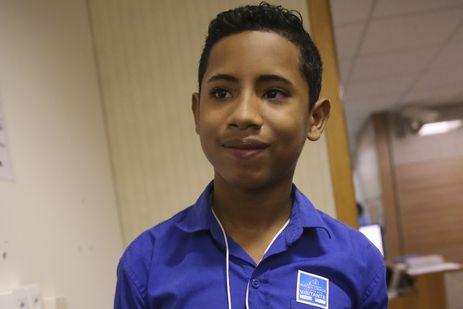 O adolescente Dewy Salazar participa do Seminário Crianças e Adolescentes Migrantes