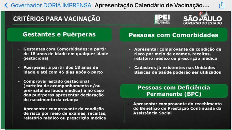 Grávidas e pessoas com deficiência permanente ou doenças crônicas serão vacinadas em SP a partir da próxima semana