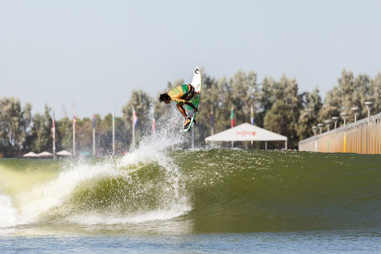LEMOORE, CA, UNITED STATES - SEPTEMBER 21: Two-time WSL Champion Gabriel Medina of Brazil surfing in the final of the 2019 Freshwater Pro on September 21, 2019 in Lemoore, CA, United States. (Photo by Jackson Van Kirk/WSL via Getty Images)