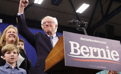 Democratic U.S. presidential candidate Senator Bernie Sanders speaks at his New Hampshire primary night rally in Manchester, N.H., U.S.