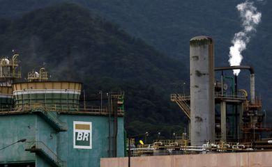 The logo of Petrobras, state-controlled Petroleo Brasileiro SA, is seen at President Bernardes Refinery in Cubatao