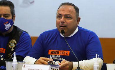 O ministro da Saúde, Eduardo Pazuello, participa do lançamento da campanha Novembro Azul no Ministério da Saúde