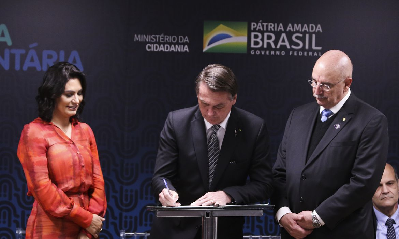 O presidente Jair Bolsonaro e a  primeira-dama, Michelle Bolsonaro, participam do lançamento do Programa Nacional de Incentivo ao Voluntariado, no Hospital da Criança de Brasília José Alencar (HCB)