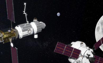 Concepção artística da futura estação espacial tripulada em órbita da lua