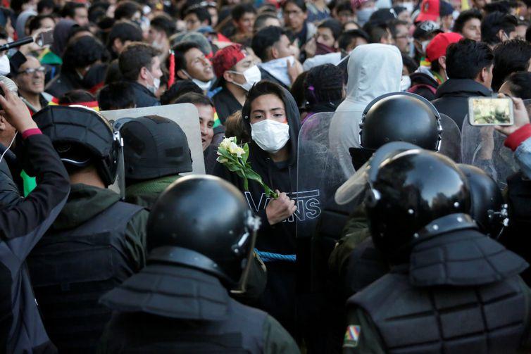 Protesto durante as eleições na Bolívia