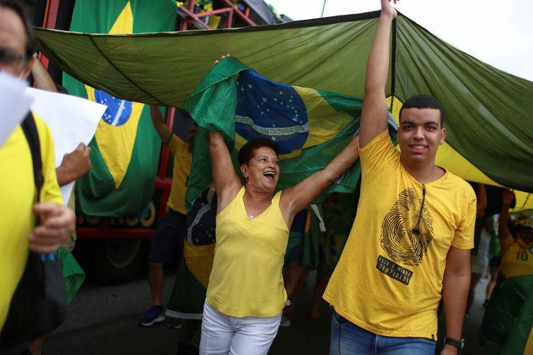 President Bolsonaro supporters march in a show of support in Rio de Janeiro