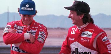 Ayrton Senna e Emerson Fittipaldi, campeões de Fórmula 1