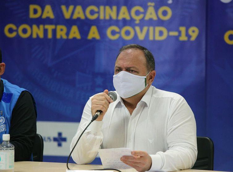 Ministro Eduardo Pazuello em Coletiva sobre ações do Ministério da Saúde no Amazonas para o fortalecimento do enfrentamento da Covid-19.