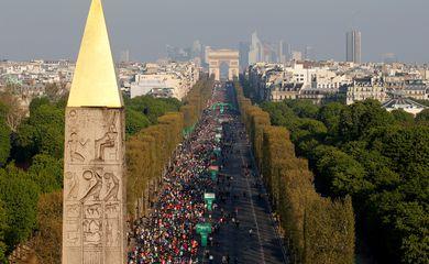 Vista aérea de Paris durante maratona