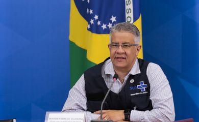 O secretário de Vigilância em Saúde, Wanderson Kleber de Oliveira, durante a coletiva de imprensa sobre à infecção pelo novo coronavírus