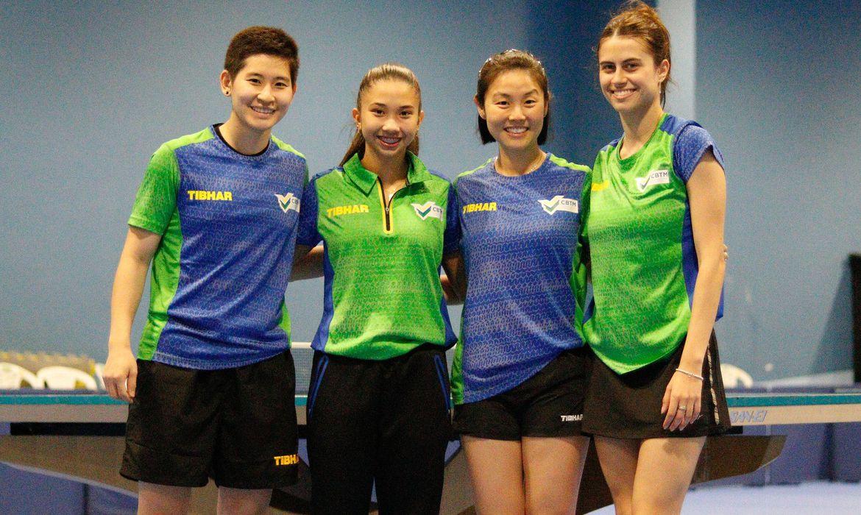 Caroline Kumahara, Giulia Takahashi, Jessica Yamada e Bruna Takahashi, seleção de tênis de mesa.