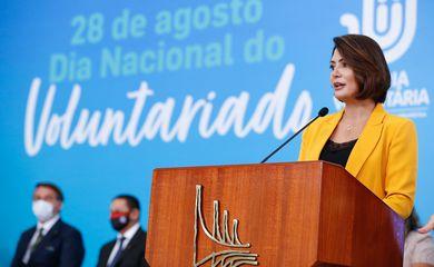 A primeira-dama do Brasil, Michelle Bolsonaro, durante a cerimônia de celebração do Dia Nacional do Voluntariado.
