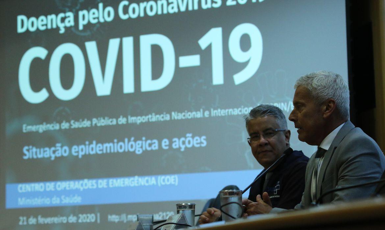 O secretário de Vigilância em Saúde, Wanderson Kleber de Oliveira, e o secretário-executivo do  Ministério da Saúde, João Gabbardo dos Reis, divulgam dados atualizados sobre a situação do novo Coronavírus no país.
