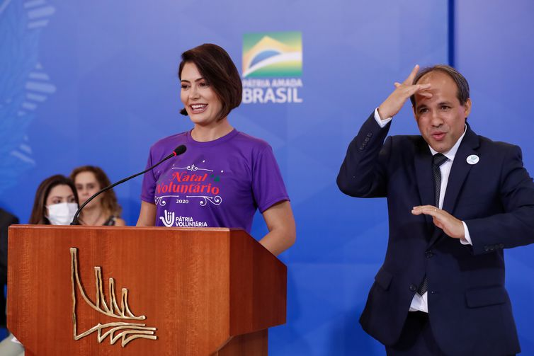 A primeira-dama Michelle Bolsonaro,durante a comemoração do Dia Internacional da Pessoa com Deficiência e do Dia Internacional do Voluntário.