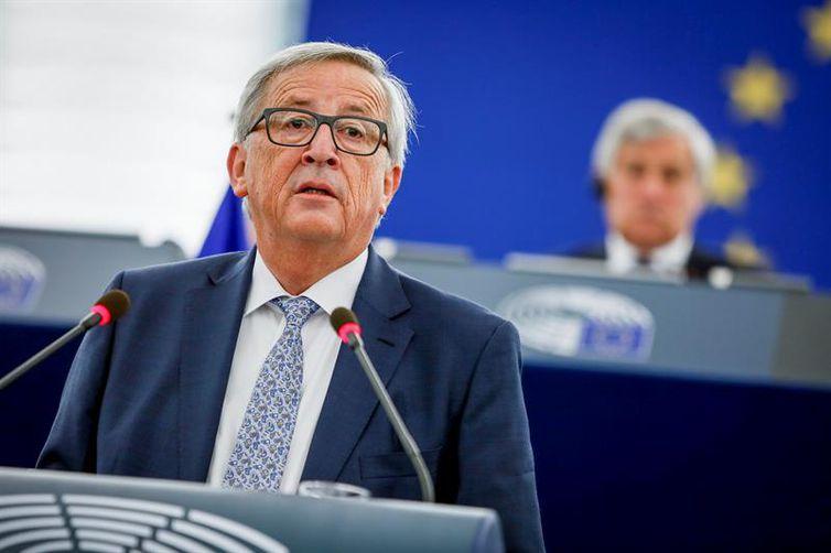 O presidente da Comissão Europeia, Jean-Claude Juncker, apresenta suas prioridades para a União Europeia para os quatro anos de mandato