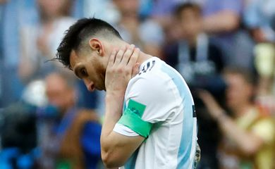 Soccer Football - World Cup - Round of 16 - France vs Argentina - Kazan Arena, Kazan, Russia - June 30, 2018  Argentina's Lionel Messi looks dejected after the match   REUTERS/Michael Dalder