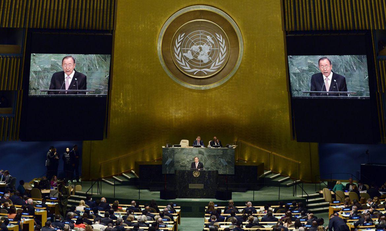 Secretário-geral das Nações Unidas, Ban Ki-moon fala durante uma reunião plenária da Cúpula das Nações Unidas para o Desenvolvimento Sustentável, em Nova York (Agência Lusa/Direitos Reservados)