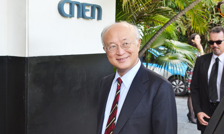 O diretor-geral da Agência Internacional de Energia Atômica (AIEA), Yukiya Amano, visita a sede da Comissão Nacional de Energia Nuclear (CNEN)