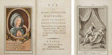 """Panfleto intitulado """"A vida de Maria Antonieta da Áustria, rainha da França"""", que apresentava os escândalos sexuais supostamente protagonizados pela esposa de Luís XVI."""