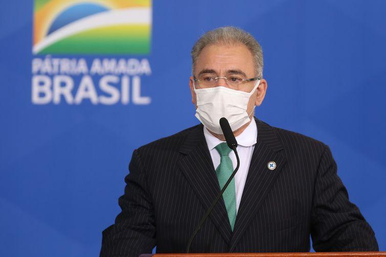 O ministro da Saúde, Marcelo Queiroga, participa da cerimônia de sanção  do Projeto de Lei n° 5043/2020, que amplia o número de doenças detectáveis no Teste do Pezinho.