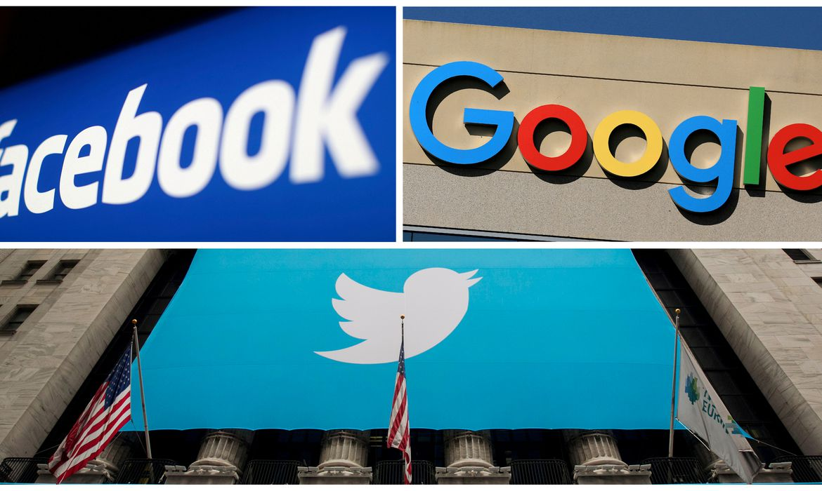Logotipos de Facebook, Google e Twitter. REUTERS