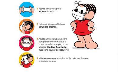 Fique em casa: cartilha da Turma da Mônica ensina a usar máscaras de proteção.