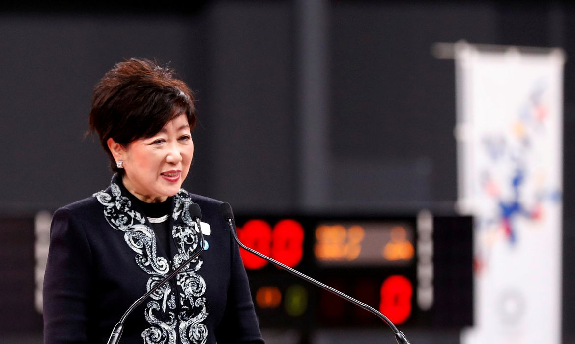 FILE PHOTO: Tokyo governor Yuriko Koike speaks at the opening ceremony of the Ariake Arena, which will host volleyball and wheelchair basketball competitions in Tokyo 2020 Olympic Games in Tokyo