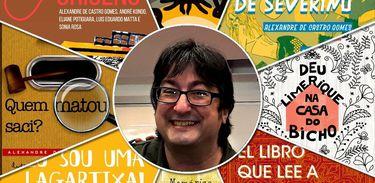 Alexandre de Castro Gomes e imagens de seus muitos livros