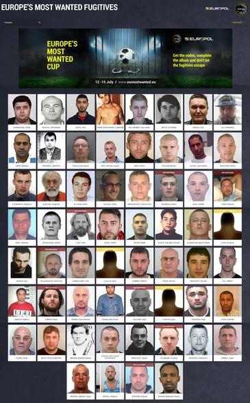 Mosaico com os mais procurados da Europa