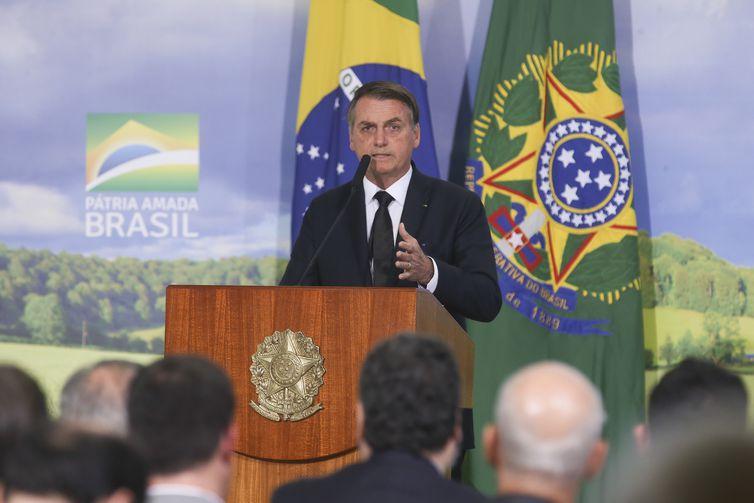 O presidente Jair Bolsonaro durante lançamento do Plana Safra 2019/2020 em cerimônia no Palácio do Planalto.