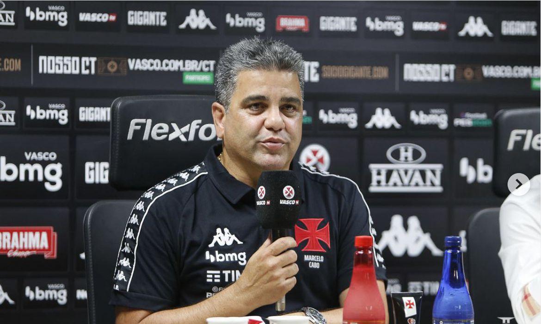 Novo treinador do Vasco da Gama, Marcelo Cabo, foi apresentado em São Januário.