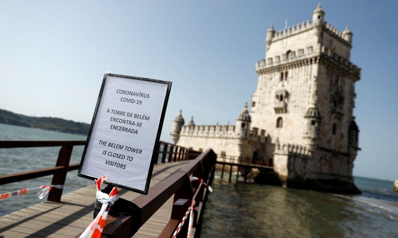 Torre de Belém, em Lisboa, fechada para visitação em função da pandemia de coronavírus