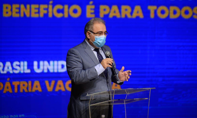 O ministro da Saúde, Marcelo Queiroga,participa da cerimônia de lançamento da Campanha de Conscientização sobre Medidas Preventivas e Vacinação contra a Covid-19, e o lançamento da Secretaria Extraordinária de Enfrentamento à Covid-19.