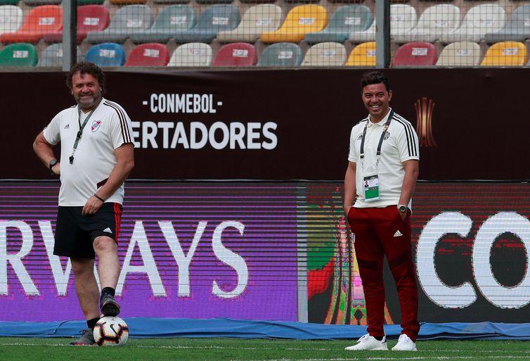 Soccer Football - Copa Libertadores - River Plate Stadium Visit - Monumental Stadium, Lima, Peru - November 22, 2019   River Plate coach Marcelo Gallardo during training     REUTERS/Henry Romero