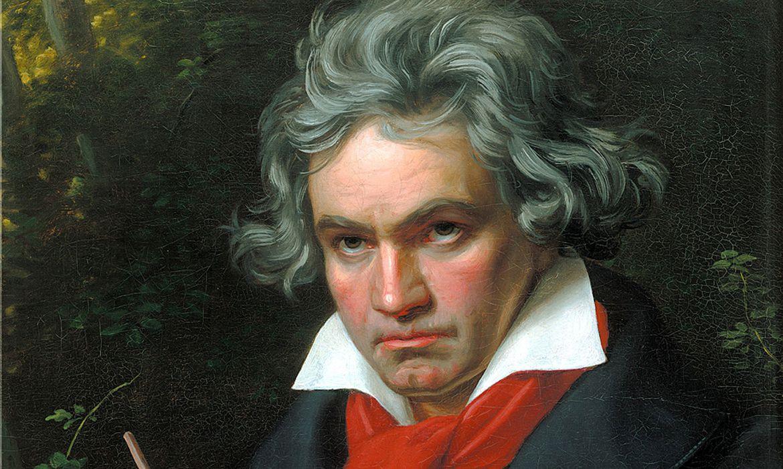 Um retrato de Beethoven com a partitura para a Missa Solemnis de 1820 por Joseph Karl Stieler.