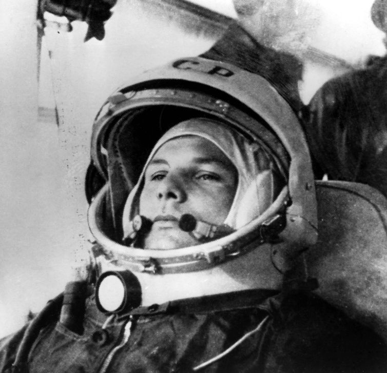 Cosmodrome Space Flight Airfield on April 12th 1961 Space pilot Yuri Gagarin takes the bus to the