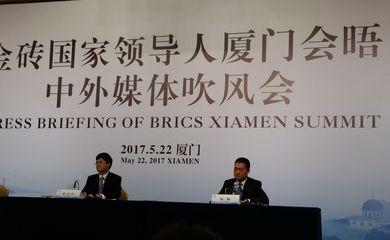 O secretário-geral do Partido Comunista de Xiamen, Pei Jinjia, fala sobre a reunião do Brics, marcada para setembro na cidade chinesa - Foto Ana Cristina Campos/Agência Brasil