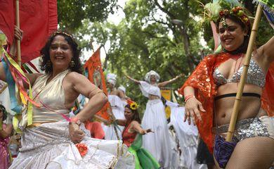 Rio de Janeiro - O cortejo pré-carnavalesco do Cordão do Boitatá arrasta milhares de foliões pelas ruas do centro da cidade. (Tânia Rêgo/Agência Brasil)