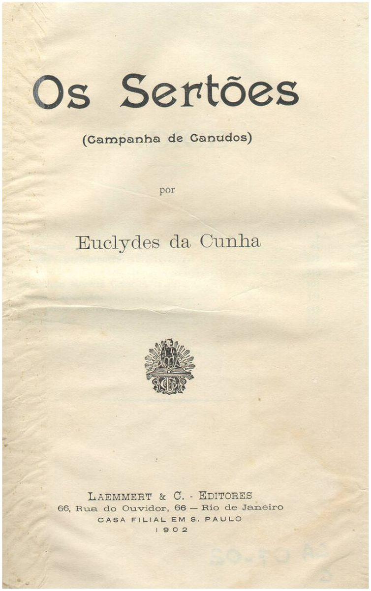 reprodução da primeira página do livro Os Sertões, que também está em domínio público (publicado em 1902).