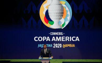.Copa América, logo, Conmebol - Vista de cerimônia realizada pela Conmebol. 3/12/2019.