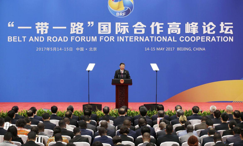 O presidente chinês Xi Jinping discursa durante coletiva de imprensa no Fórum do Cinturão e da Rota, em Pequim