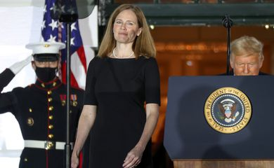 U.S. Supreme Court Justice Barrett arrives with U.S. President Trump to take her oath of office at a ceremony at the White House in Washington