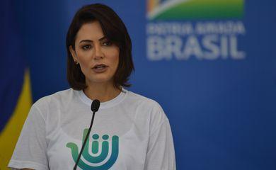 A presidente do Conselho do Programa Pátria Voluntária, Michelle Bolsonaro, durante o Lançamento do projeto Arrecadação Solidária contra o coronavírus