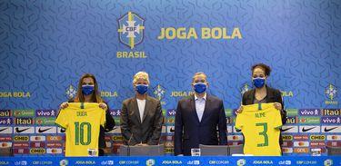 Duda Luizelli, Pia Sundhage, Rogério Caboclo e Aline Pellegrino