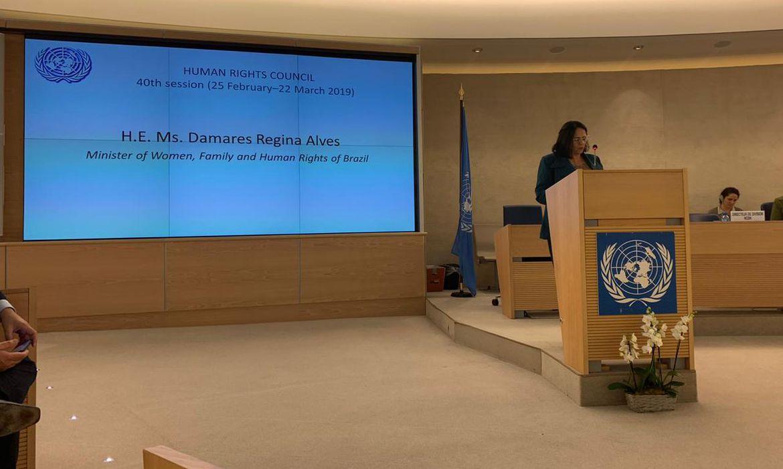 Discurso da Ministra Damares Alves no Conselho de Direitos Humanos da ONU