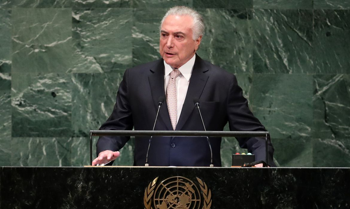 Brazil's President Michel Temer addresses the 73rd session of the United Nations General Assembly at U.N. headquarters in New York, U.S., September 25, 2018. REUTERS/Carlo Allegri