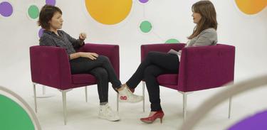 Roteirista Cláudia Jouvin e a apresentadora Natália Lage