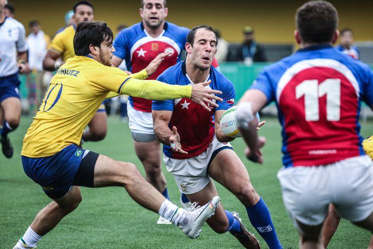 Rúgbi masculino estreia nos Jogos Pan-Americanos contra o Chile. Local: Complexo Esportivo Villa María del Triunfo, em Lima, no Peru. Data: 26-7-2019.